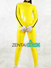 Free Shipping DHL Custom Made Adult Sexy Full Body Yellow Color PVC Zentai Catsuit Fancy Zentai Suit YKK Zipper No Hood