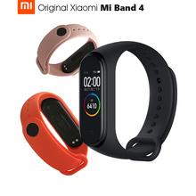 Oryginalny Xiao mi mi Band 4 inteligentna opaska 4 nadgarstek bransoletka fitness sterowanie muzyką bransoletka Bluetooth 5 AMOLED kolorowy ekran dotykowy tanie tanio XIAOMI Passometer Fitness tracker Uśpienia tracker Wiadomość przypomnienie Przypomnienie połączeń Pilot zdalnego sterowania
