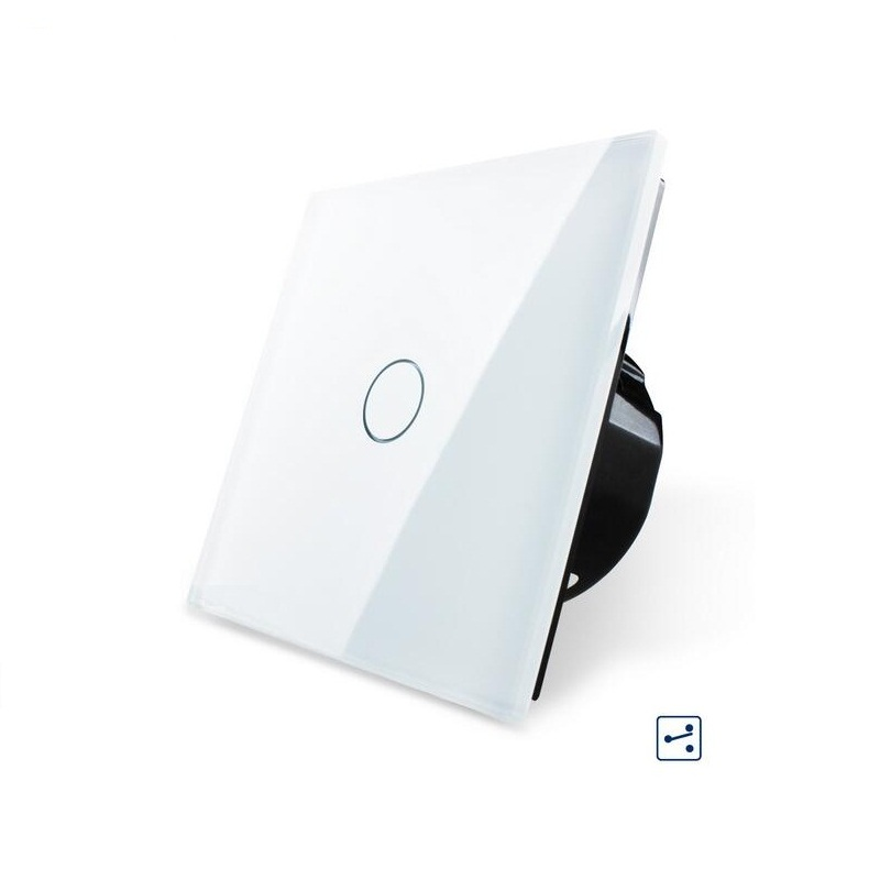 EU Standard, Wall Switch, 1 Gang 2 Way Control, Crystal Glass Panel, Wall Light Touch Screen Switch VL-C701S-11/12