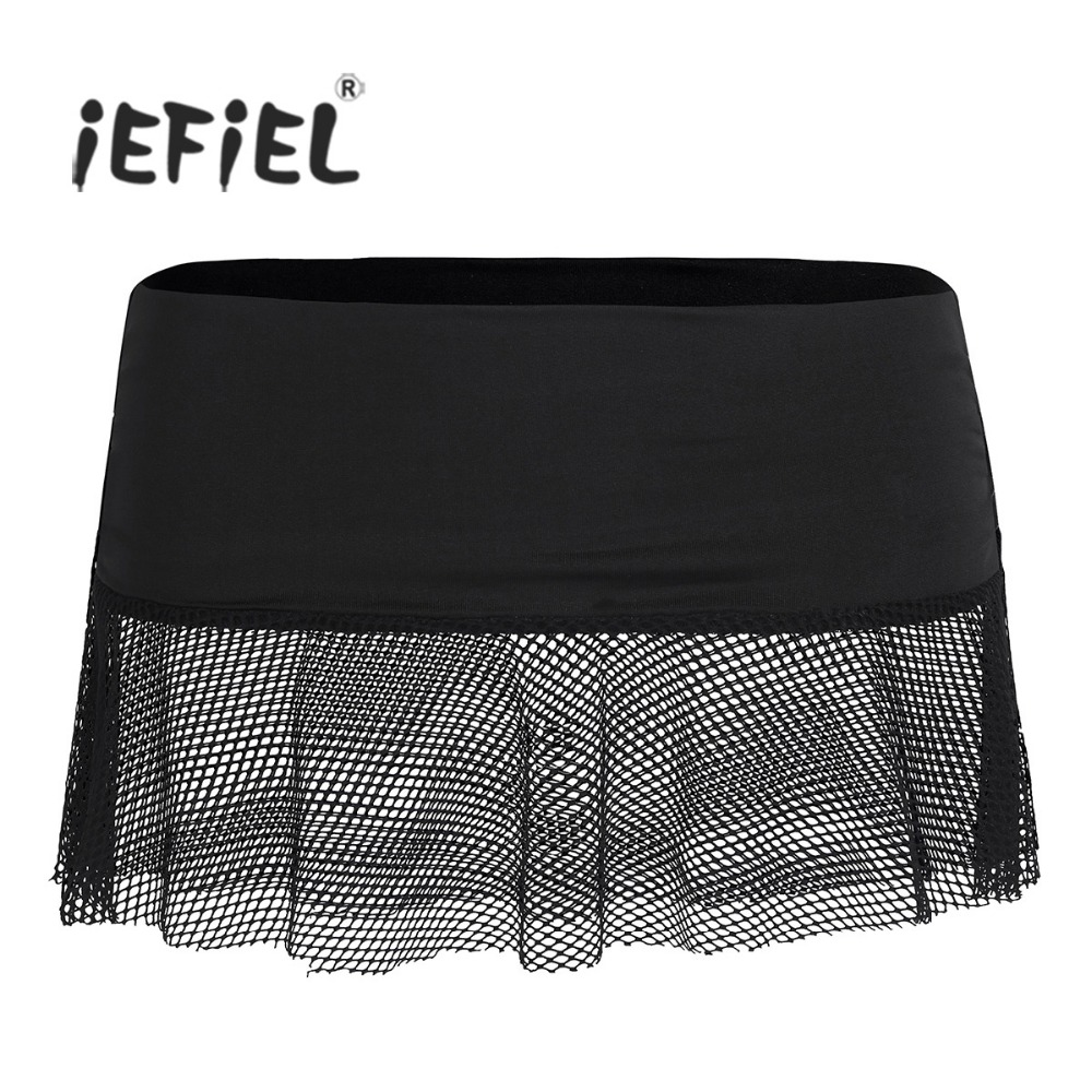iEFiEL Hot Sexy Women Ladies Soft Stretch See-through Mesh Fishnet Low Rise Mini Skirt for Adult Wet Look