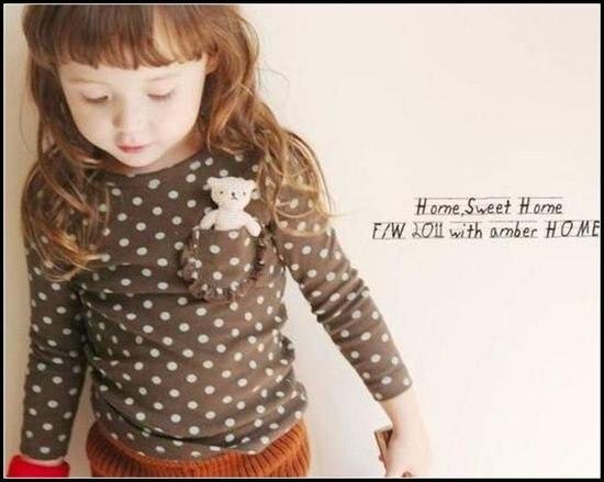 Одежда для девочек с надписью «LOVE DD& MM», футболки г., новая летняя детская одежда футболка с длинными рукавами с милым рисунком медведя в горошек и карманом для девочек - Цвет: Коричневый