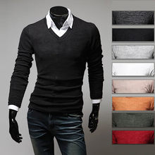 f81fc39a1f5e 2015 New Brand 8 Color Fashion Cashmere Mens T shirts Slim fit V-neck Long  sleeve Casual Tops Tees M-XXL