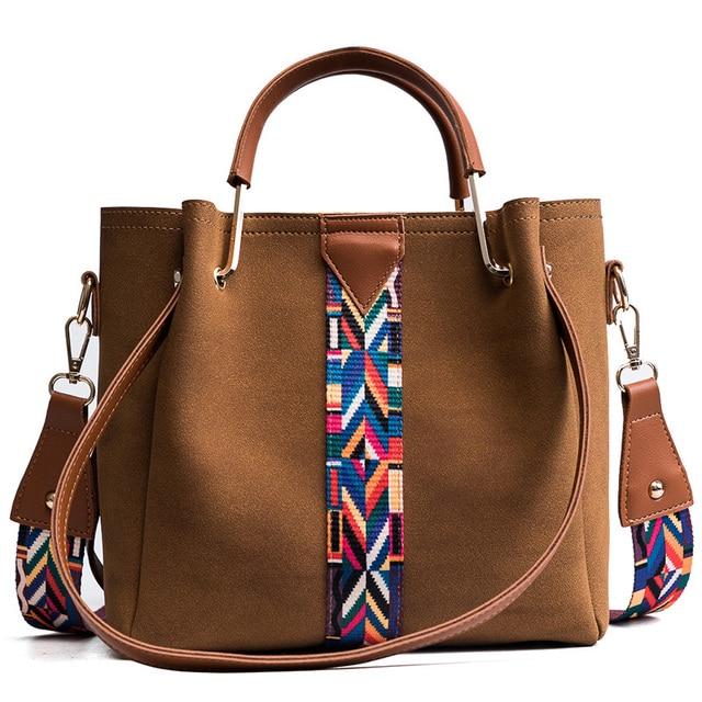 ebf9503932 Fashion PU Leather Colorful Strap Shoulder Bags Women Composite Bag High  Quality Ladies Big Tote Bag