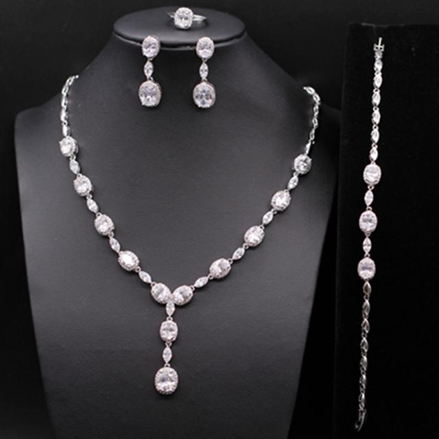 Boda de lujo bisutería cristal plateado del platino AAA Zircionia cúbico collar pendientes pulsera anillo Set