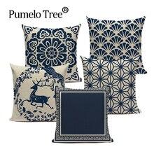Fundas de cojines personalizados azul dibujo en blanco funda de cojín de lino funda de sofá de alta calidad funda de cojín decorativo Vintage