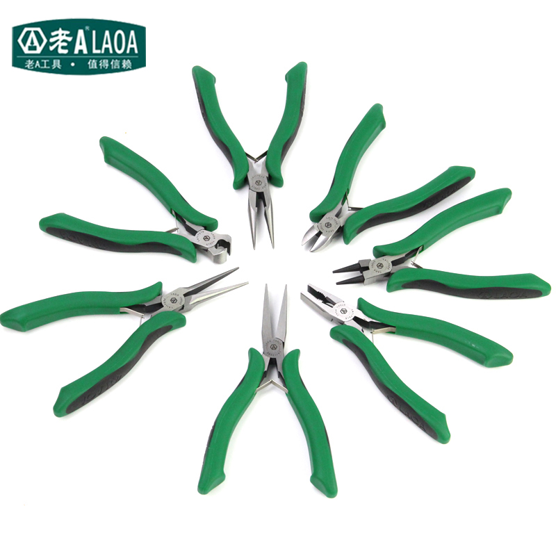 LAOA Mini Pliers Long Nose Pliers Round Nose Pliers Flat Nose Nippers Wire Cutter Made in Taiwan 7pcs mini beading pliers tools round flat long nose multi size pliers set