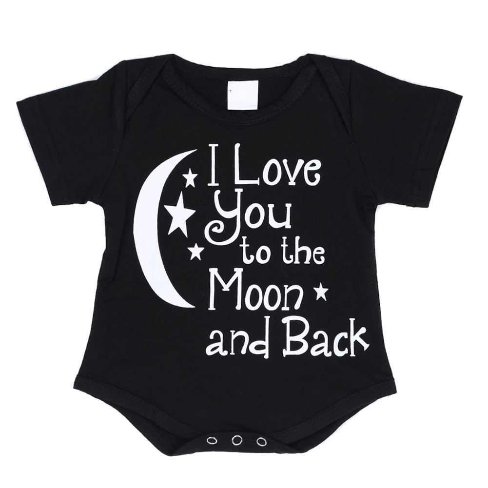 Newborn Baby Rompers Summer Baby Boy Clothes  Cotton Short Sleeve Outfit Body Clothing Moon Letter Jumpsuit Black 0-12M newest 2016 summer baby rompers clothing short sleeve 100
