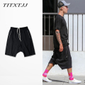 FEAR OF GOD men Shorts Unedged Sweatpants  Dropped crotch Knee-length with Zip pocket Hiphop clothing China Sizing M-3XL