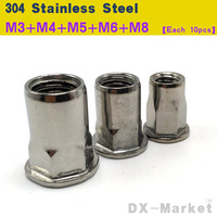 M3 M8 , each 10pcs , 304 semi hexagon Rivet Nut , Metric thread Embossing nuts , high quality stainless steel fastener