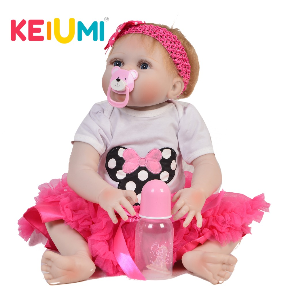 KEIUMI 23 57 cm Wholesale Reborn Girl Doll Full Silicone Body Realistic Baby Doll Toy For