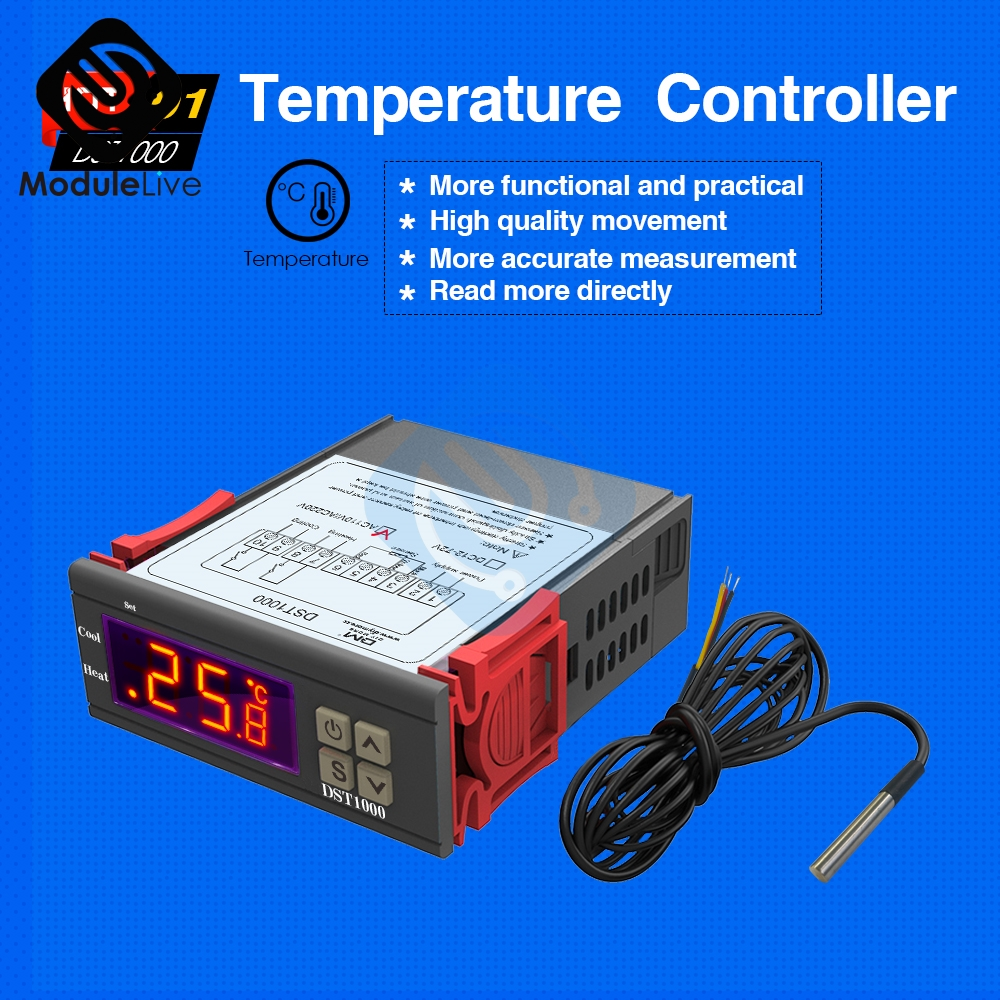 DS18B20 Probe Cable AC 110-230V DST1020 Digital Temperature Control Thermostat