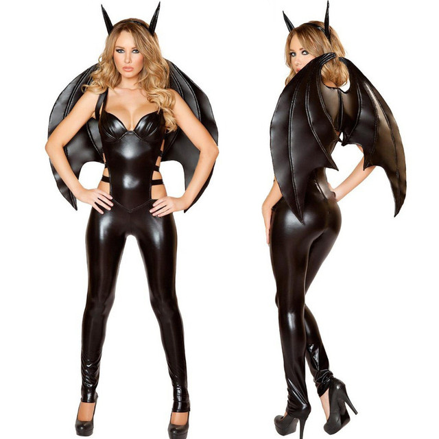 New Arrival Faux Leather Catsuit Black Evil V&ire Bat Costume Women Halloween Costume PVC Jumpsuit Plays  sc 1 st  AliExpress.com & New Arrival Faux Leather Catsuit Black Evil Vampire Bat Costume ...
