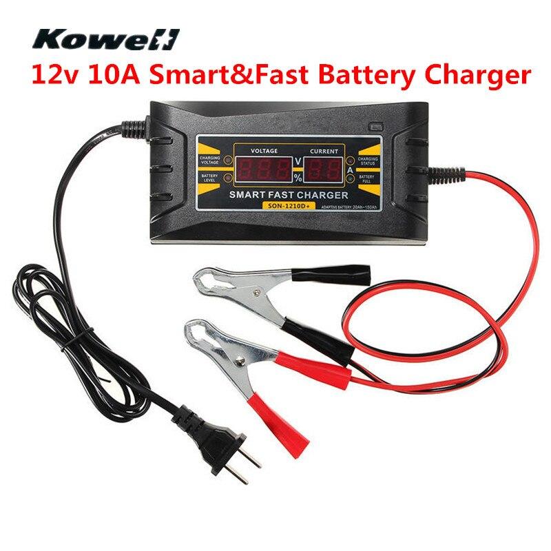 KOWELL Batterie De Voiture Chargeur 12 v Intelligent 10A Automatique Intelligent Rapide Chargeur de Batterie LCD Affichage Souer Chargeur pour Batterie De Voiture