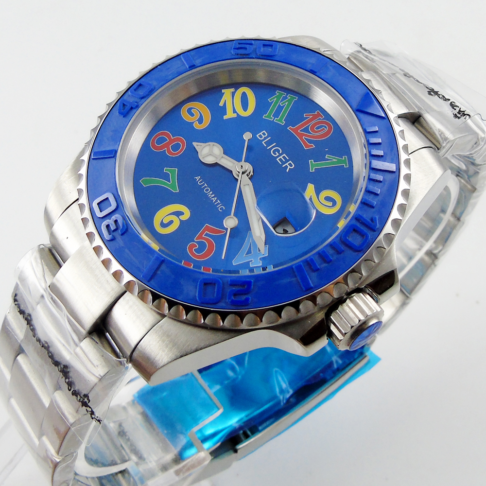 Bliger 40mm blue dial date blue Ceramics Bezel Stainless steel case saphire glass Automatic movement Men's watch bliger 40mm gray dial date blue ceramics bezel stainless steel case saphire glass automatic movement men s watch