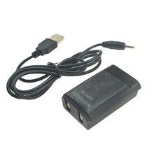 Nero/Bianco 800mAh Ricaricabile Batteria con USB a DC Cavo di Ricarica per Xbox 360 Controller Wireless 360