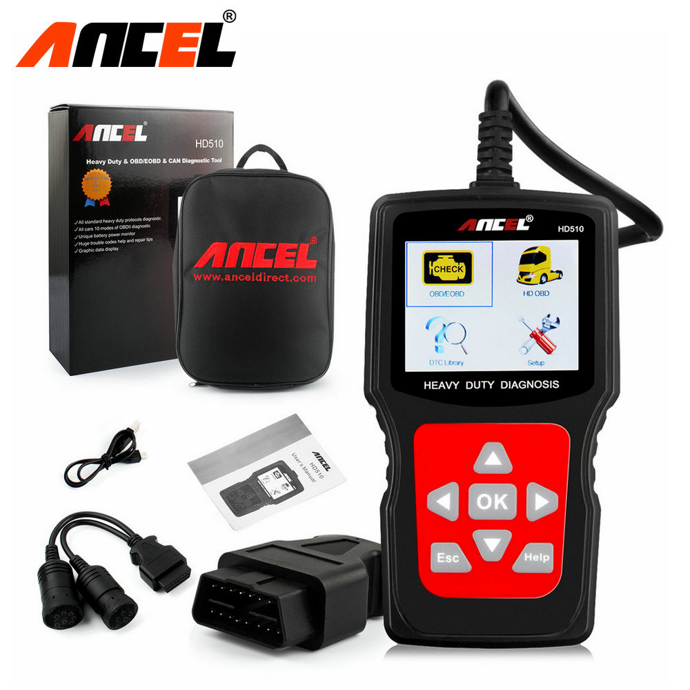 Aliexpress com buy 2017 new truck diagnostic tool ancel hd510 heavy duty truck diagnostic scanner car diagnostic 2in1 for mercedes scania trucks from