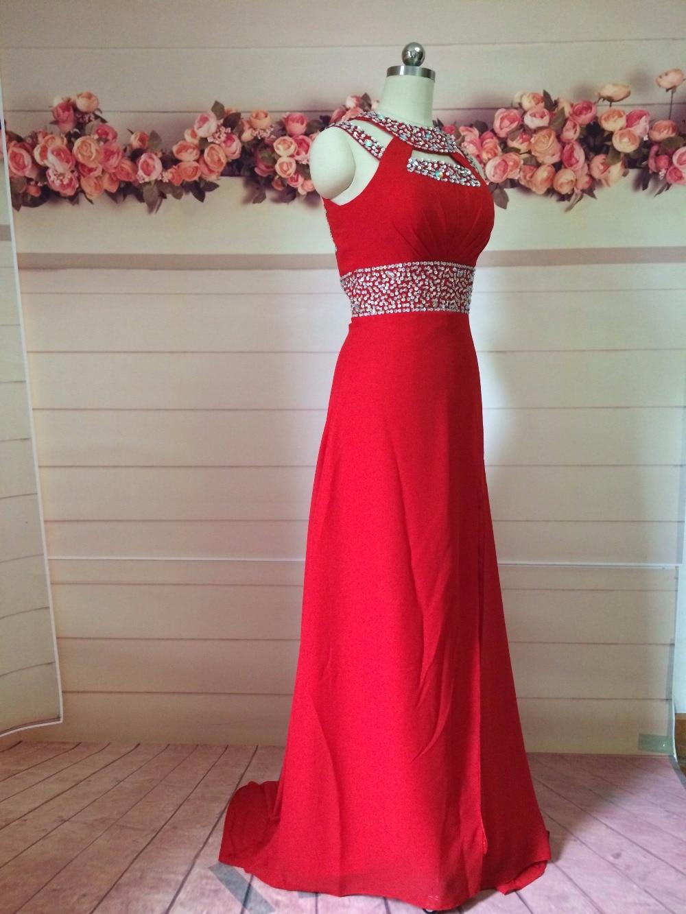 Ya de Lentejuelas Con Cuentas Vestidos de Fiesta Halter de La Gasa roja Vestidos
