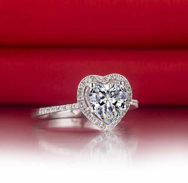 2Ct Romantic Women Pure Silver Heart Excellent Cut Geniune 925 Sterling Silver Ring Eternel Promise Love Jewelry