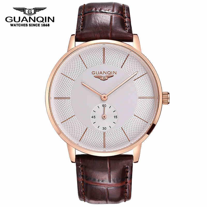 Brand GUANQIN Men Mechanical Watch Big Dial Luxury Brand Business Men Leather Watches Clock Wristwatches Relogio Masculino Reloj uk standard remote touch switch black crystal glass panel 3 gang 1 way remote control wall switch with led indicator