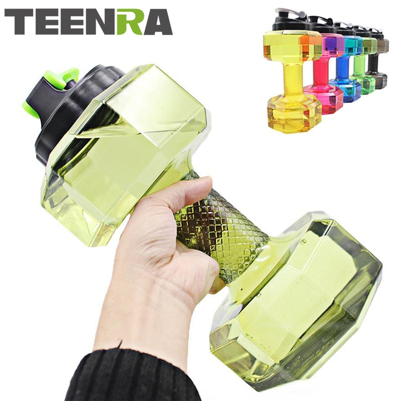 TEENRA 1Pcs 2.2L Dumbbells Water Bottle Large Capacity Gym Sports Water Bottle Plastic Outdoor Fitness Bottle Bycicle Camping