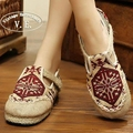 Thai Boho Style Cotton linen canvas cloth shoes new national handmade woven Round Toe flat shoes with embroidered