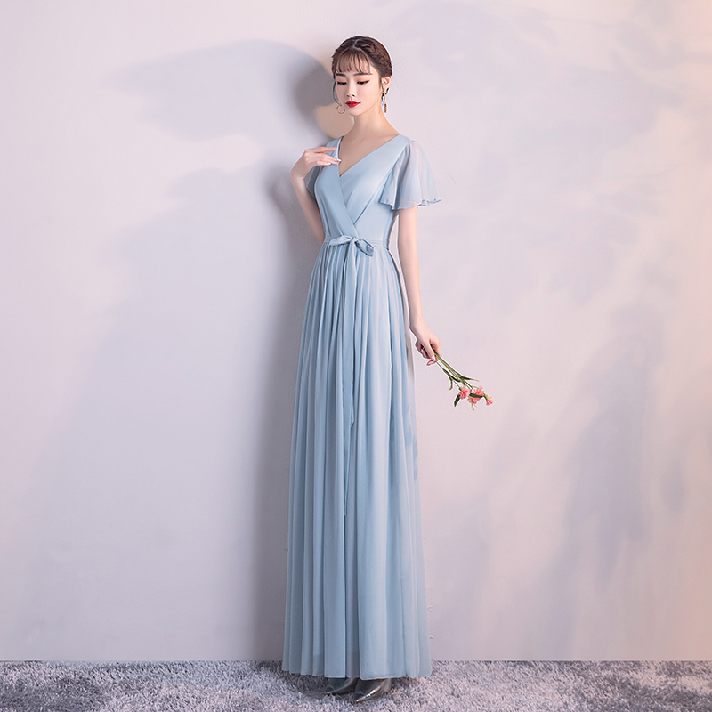 Blue Colour Back Of Zipper Bridesmaid Dresses Short Sleeves Woman Dresses For Party And Wedding Long Dress  Adult  V-neck