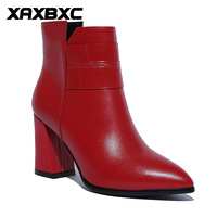 XAXBXC Retro British Style Genuine Leather Brogues Oxfords Red Short Boot Women Shoes Bird Pointed Toe