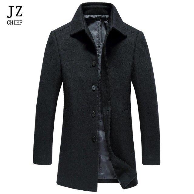 Aliexpress.com : Buy JZ CHIEF Mens Peacoat Wool Coat Black Wool ...