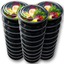 Set of Round Shaped Black Plastic Food Containers