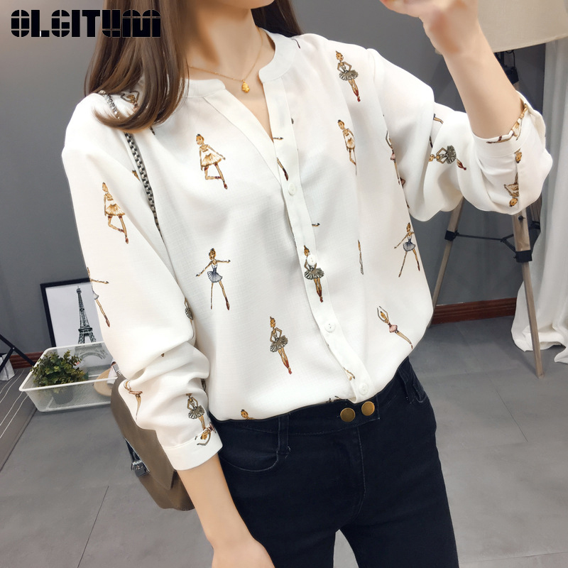 New 2019 Fashion Ballerina Print Chiffon   Shirt   for Spring V-neck Slim Long Sleeve with Buttons Women   Blouses     Shirt   Black White