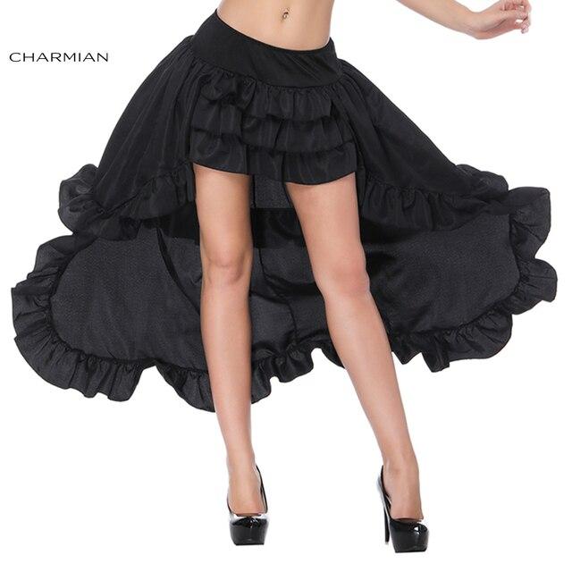 27817858b Charmian Women's Sexy Victorian Gothic Retro Skirt Summer Black Punk High  Waist Ruffle High Low Mini