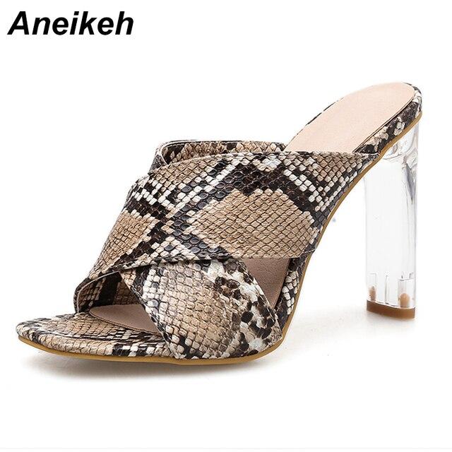 Aneikeh zapatos de verano talla grande 41 42 Stiletto zapatos de tacón alto sandalias de Mujer Zapatos de Punta abierta zapatos de tacón Perspex zapatos leopardo