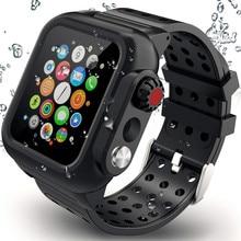 Silicone Waterdichte Sport Case Voor Apple Horloge Band 38Mm 42Mm 40Mm 44Mm Ademend Armband Band Voor iwatch Serie Se/6/5/4/3/2