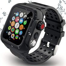Silicone Waterproof Sport Case for Apple Watch Band 38mm 42mm 40mm 44mm Breathable Bracelet Strap for iWatch Series SE/6/5/4/3/2