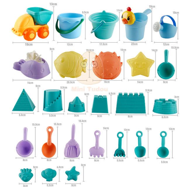 Summer Silicone Soft Baby Beach Toys Kids Mesh Bag Bath Play Set Beach Party Cart Ducks Bucket Sand Molds Tool Water Game 10