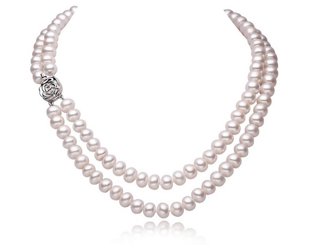 ASHIQI Real Natural Freshwater Pearl Necklaces For Women with 925 Sterling Silver Clasp 2 Rows Pearls
