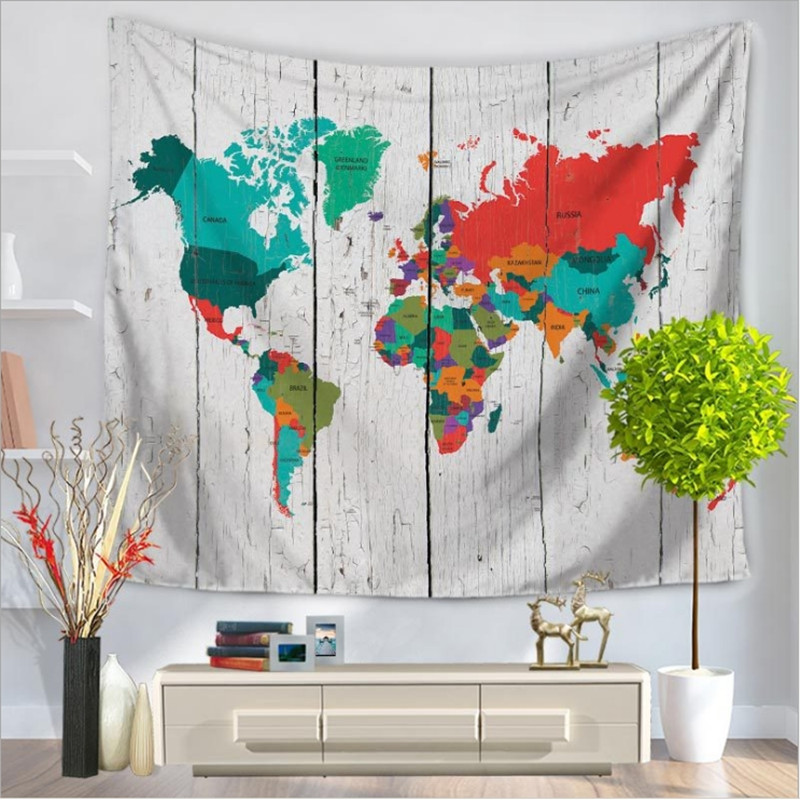 Home decor wall hanging world map tapestry colorful fabric throw home decor wall hanging world map tapestry colorful fabric throw bohemian door curtain bedspread home decoration accessories in tapestry from home garden gumiabroncs Choice Image