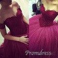 Темно-бордовый бургундия бальное платье длинные платья выпускного вечера 2016 халат де бал longué милая спинки ну вечеринку вечер случай вечерние платья линия