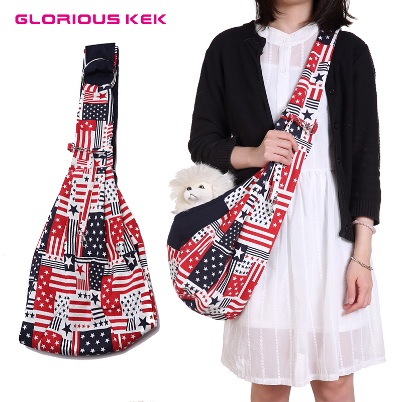 GLORIOUS KEK Dog & Cat Sling Carrier Hands Free Reversible Pet Papoose Bag Soft Pouch & Tote Design Dog Backpack Outdoor Travel
