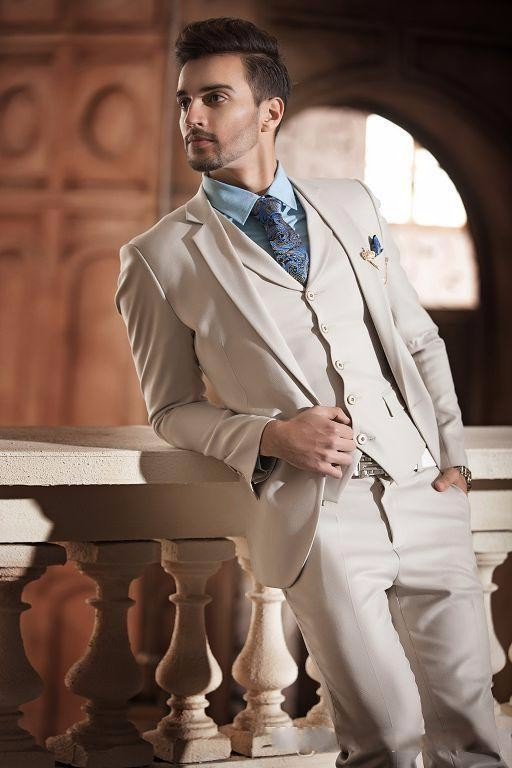 Latest Coat Pant Designs Beige Ivory White Formal Men Suit Slim Fit Skinny Italian 3 Piece