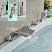 Bright Cchrome 5pcs Widespread Waterfall Bathtub Faucet Deck Mount with Handheld Shower