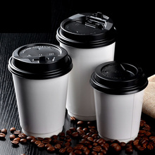 100x Disposable Cups With Lids Double Wall Layer Kraft Paper 8oz Coffee 240ml