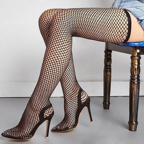 Γυναικεία Παπούτσια Με Ενσωματωμένη Διχτυωτή Κάλτσα Αισθησιακή Εμφάνιση