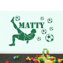 Football Player Custom Personalised Name Boys With Footballs Vinyl Wall Sticker Decal