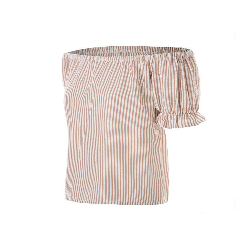 MSAISS Summer Off Shoulder Top T shirt Women Stripe Casual Short Tee Shirt femme camiseta mujer