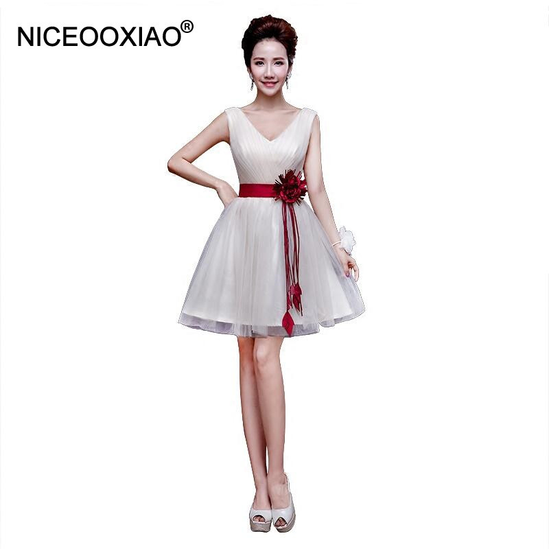 NICEOOXIAO   Bridesmaid     Dresses   2017 Summer New Champagne Short Wedding Formal   Dress   Ball Gown Party   Dress