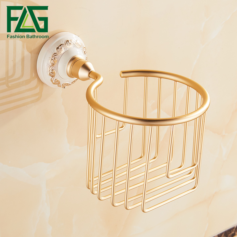 FLG Free shipping Space Aluminum Toilet Paper Basket  Wall mount Tissue Box For Paper shelf Bathroom Accessories Roll Hold black of toilet paper all copper toilet tissue box antique toilet paper basket american top hand cartons
