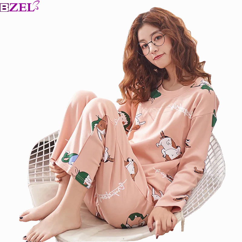 Spring Korean Style Ladies   Pajamas     Set   Sleepwear Large Size Long Sleeve Pure Cotton 2 Piece   Sets   Household Clothing Many Color