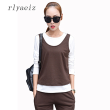 RLYAEIZ 2017 Autumn Sportswear Women's Casual Sporting Suits Solid Vests + Crop Tops + Pants 3 Piece Set Female Tracksuits M-5XL