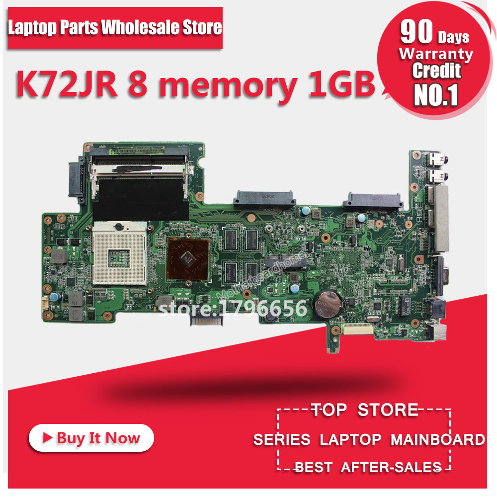 K72JR motherboard REV 2.0 8 memory 1GB For ASUS K72JT K72JK K72JU K72J X72J laptop motherboard K72JR mainboard K72JR motherboard
